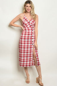 Red Checkered Button Dress