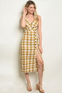 Mustard Checkered Button Dress