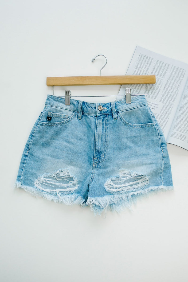 Frazzled Mom Light Wash Cutoffs