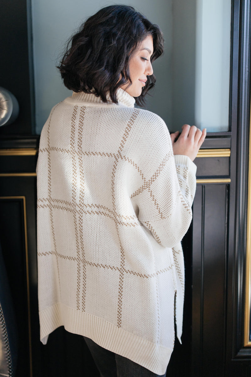 Grand Grid Print Sweater in Cream