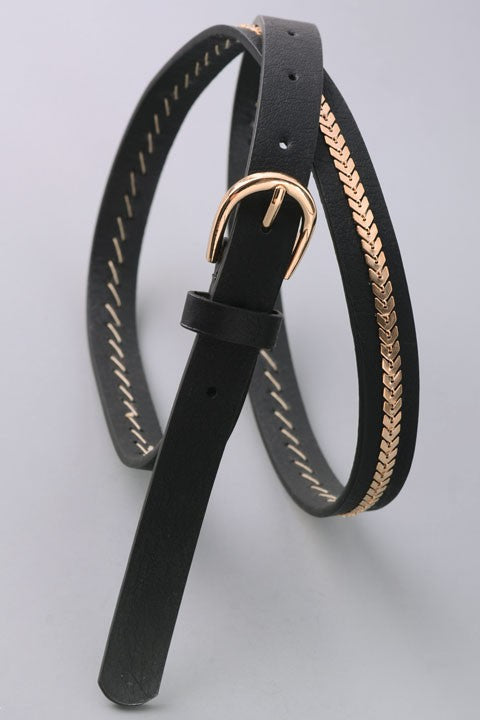 Black + Gold Belt (One Size)