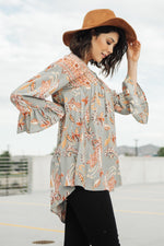 Meadow Sage Floral Peasant Blouse