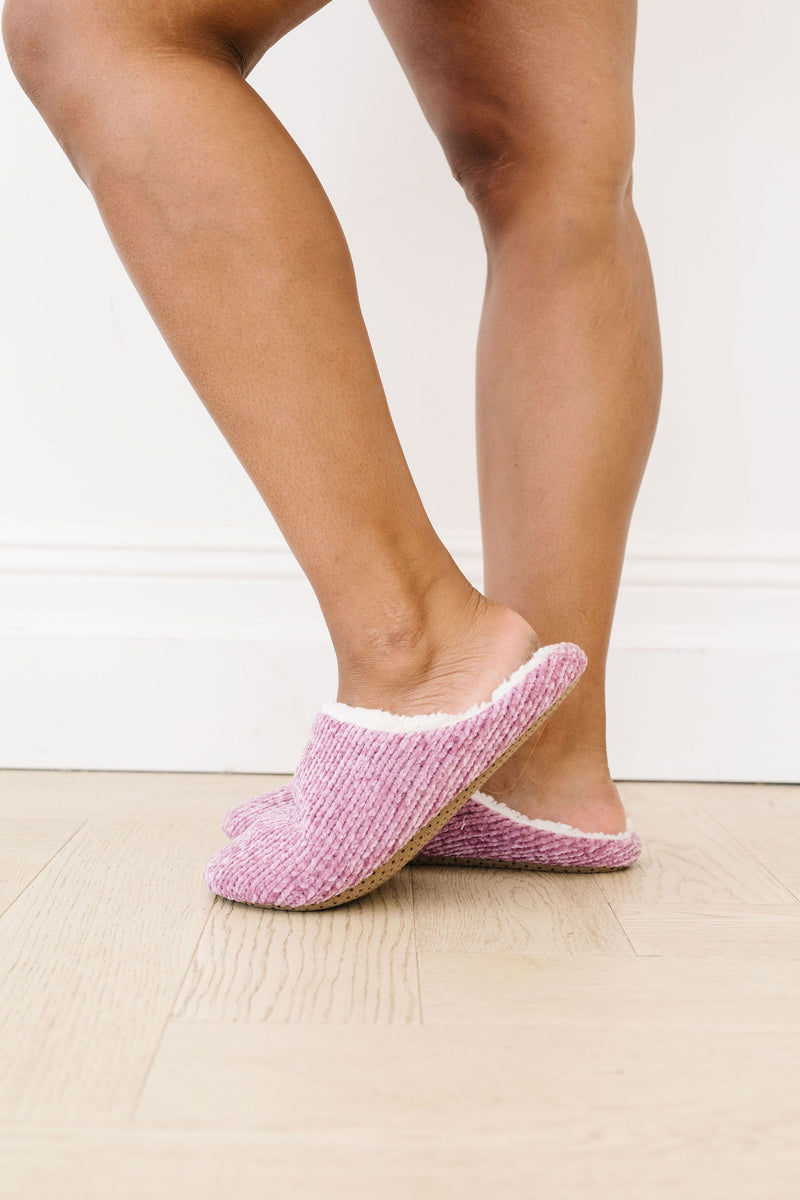 She'll Never Wear Shoes Again Chenille Slippers In Pink