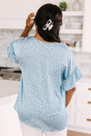Silky Spots Ruffle Sleeve Blouse In Sky Blue