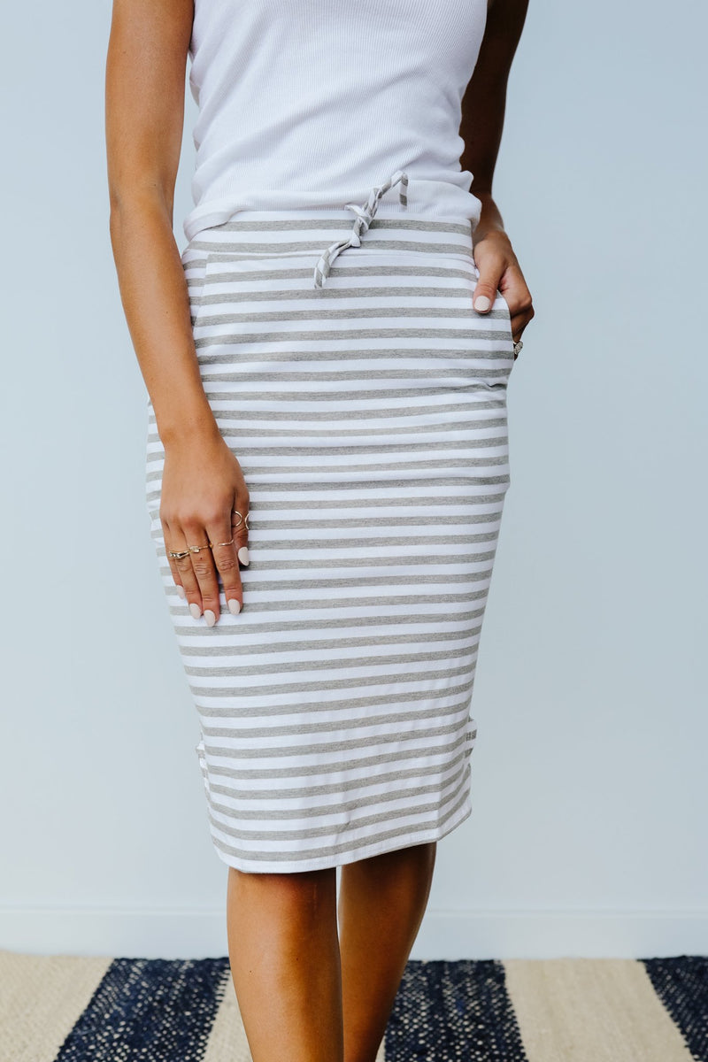 Striped Drawstring Skirt In Gray