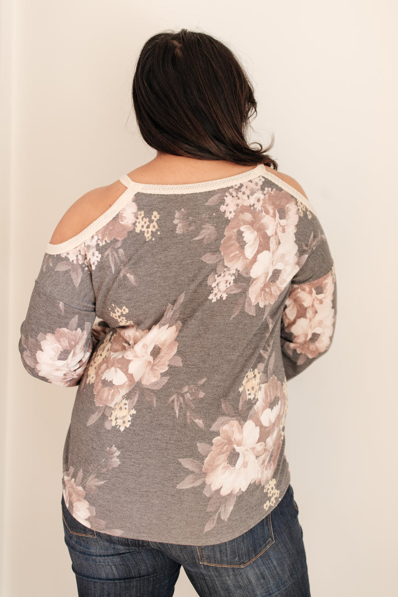 Waffle Meets Floral Top in Charcoal