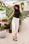 Wrap Fall Up Tie Front Pants In Sand