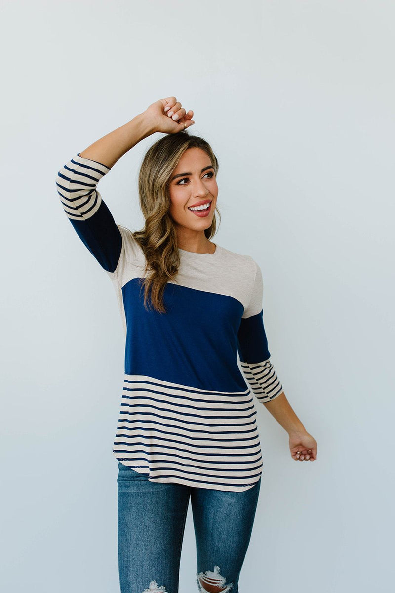 Block Talk Top In Navy