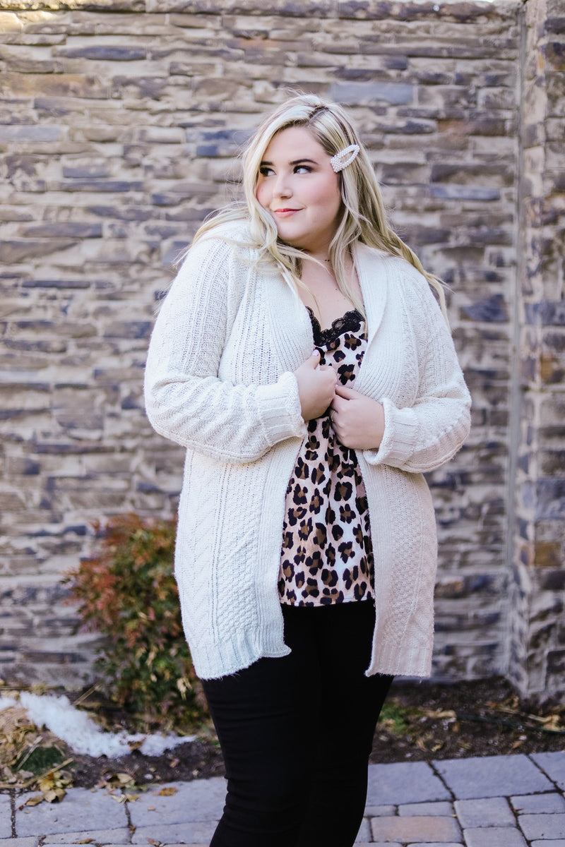Cable Knit Belted Cardigan In Cream
