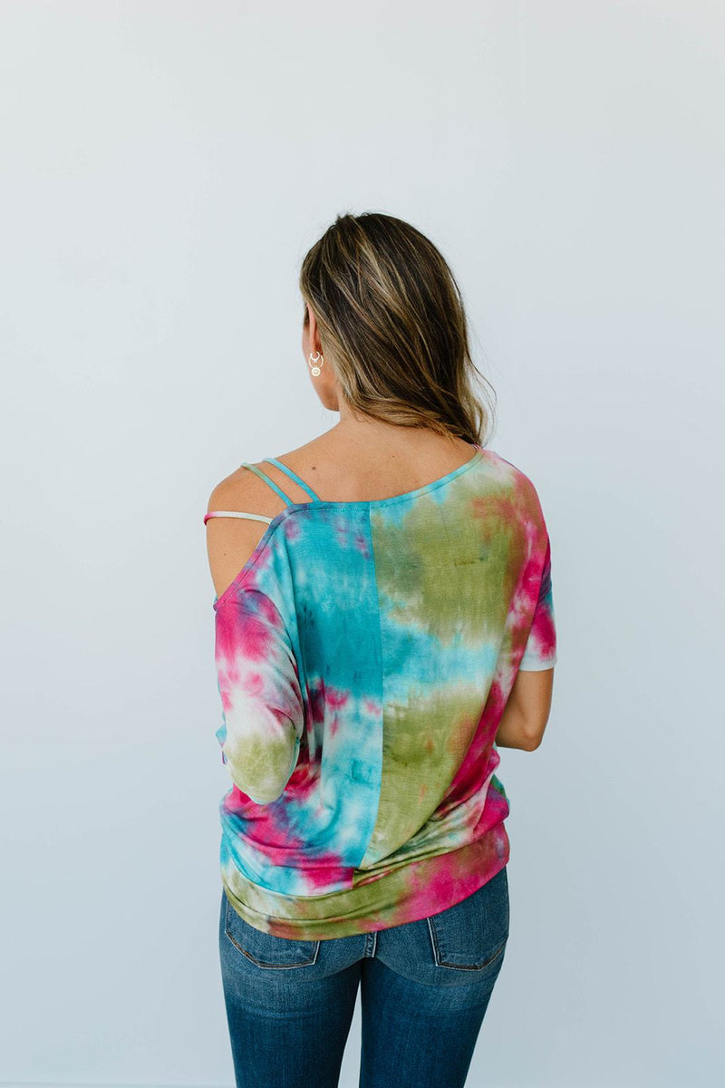 Cold Shoulder Rays Tie Dye Top