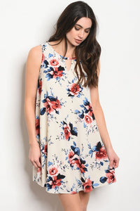 Cream + Floral Shift Dress