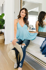 Daisy Woven Cami In Blue