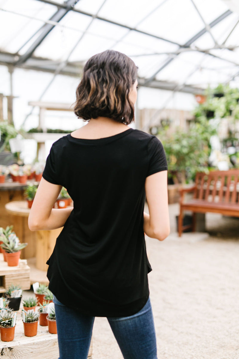 Everyday Yay V-Neck Tee In Black