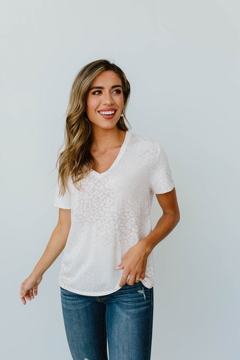 Fading Away Leopard V-Neck In Taupe