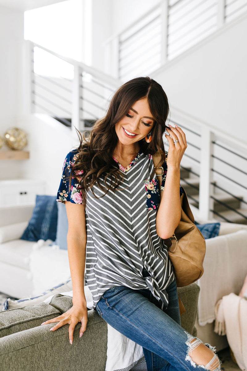 Flowers & Chevron Striped Top In Navy