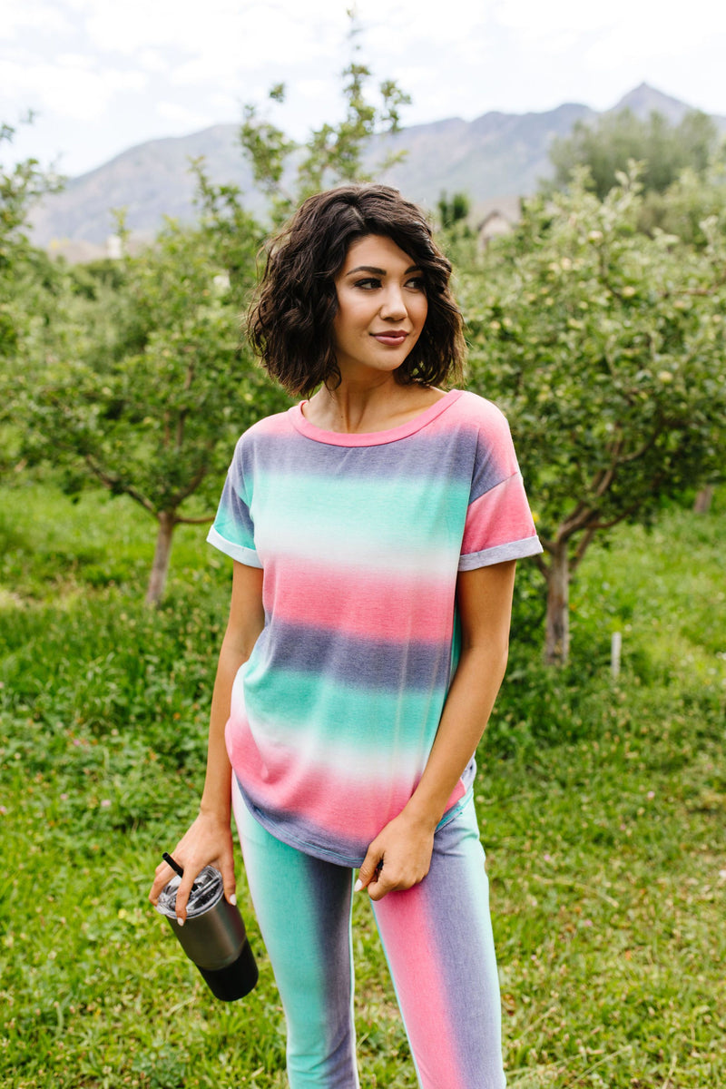 Hazy Pastel Stripes Lounge Top