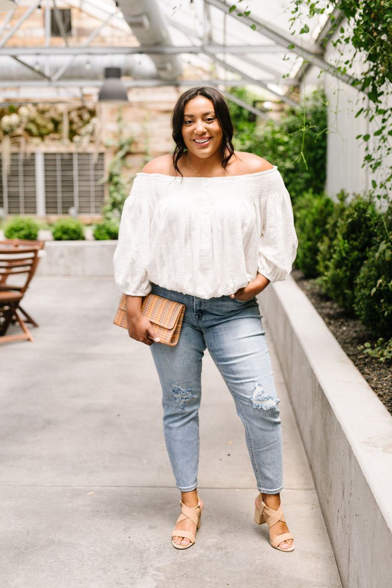 Just Add Sun Off Shoulder Top In White
