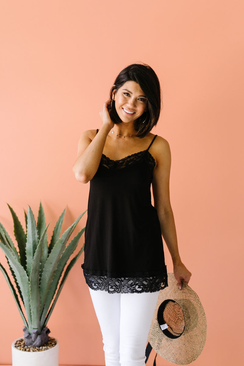 Lace Trimmed Knit Cami In Black