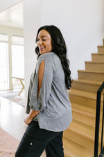 Lickity Split Sleeve Blouse In Heather Gray