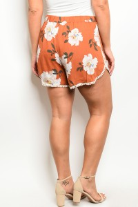 Rust Floral Shorts {Curvy}