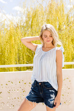 Shoulder Tie Tank In Pale Blue