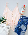 Silky Button-Down Tank In Blush