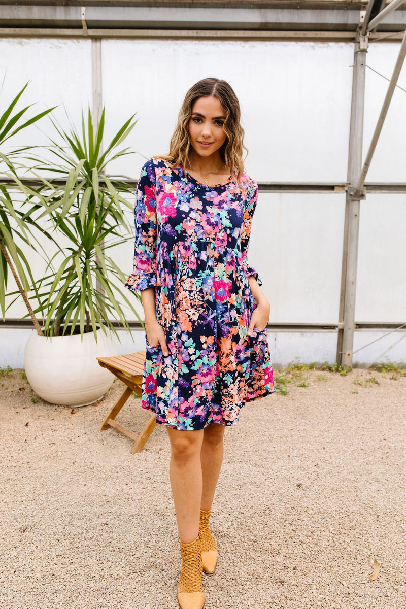 Terrace Garden Dress In Navy