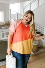 Unbalanced Colorblock Top In Yellow