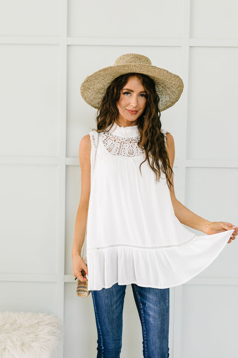 Victoria Lace Mock Neck Top In Ivory
