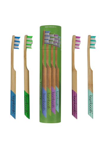 Multipack of 4 Medium Adult Toothbrushes - Bambooth