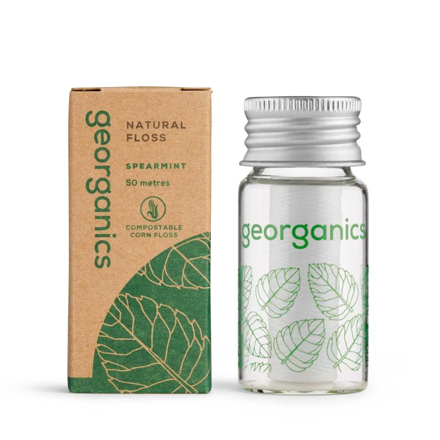 New Size & Larger Quantity - Georganics Spearmint Dental Floss (1 x 50 metres)