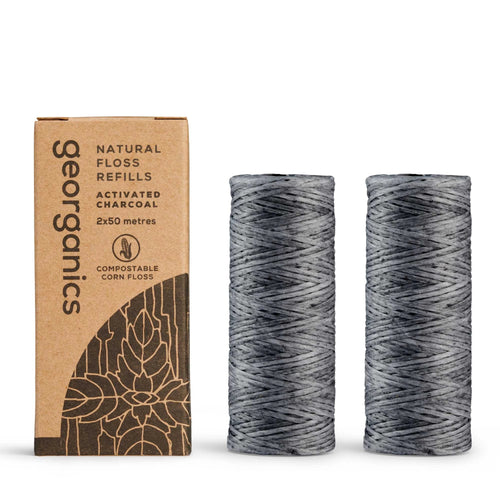 New Size & Larger Quantity - Georganics Peppermint & Activated Charcoal Dental Floss Refill (2 X 50 metres)