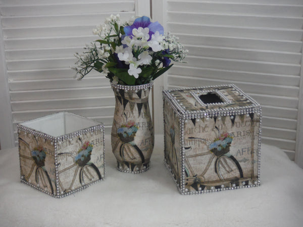 Handmade 3 Pieces Tissue Box Set - French Inspired