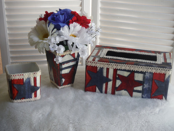 Handcrafted 3 Piece Tissue Box Set All American - Red, White and Blue