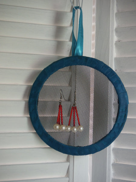 Small Teal Blue Earring Holder
