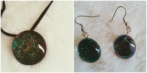 The Galaxy At Your Fingertips.  Necklace and Earring Set    -      Free Shipping