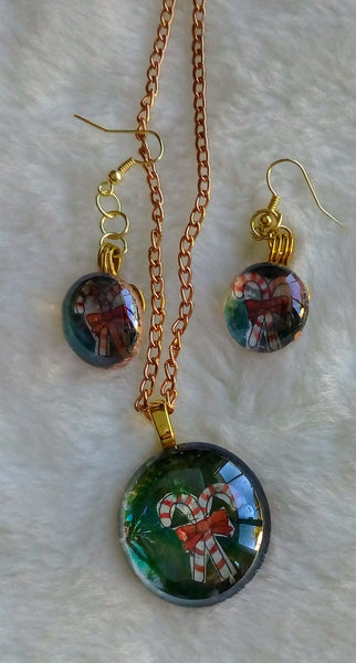 Just for the Holidays - Necklace and Earrings with Image of Candy Canes