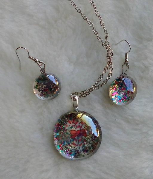Just Necklace and Earring Set Sparkling with Christmas Color