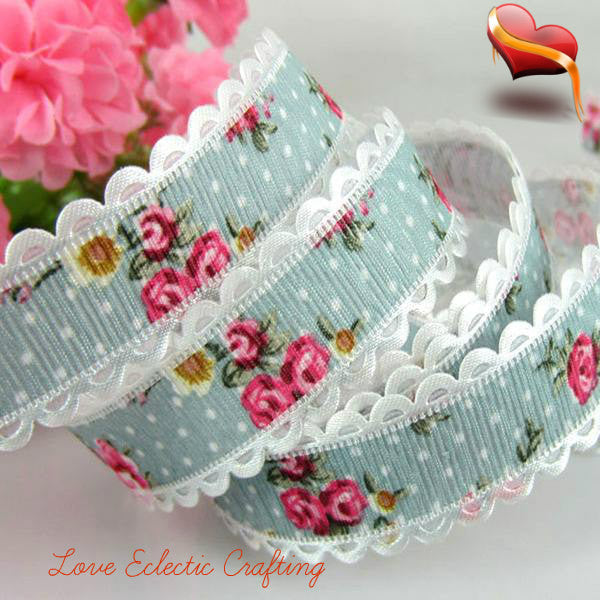 "20yards 3/4"" Printed Flower Lace Fabric Trim Ribbon  20mm"