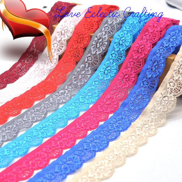 Beautiful Colors of 5yd/lot High Quality Elastic Lace Trim ribbon