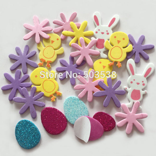 80PCS/LOT.Easter rabbit foam stickers,Easter crafts.Scrapbooking kit.