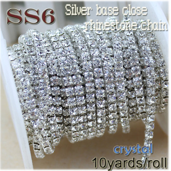 New deals 10yards/roll clear crystal SS6-SS12(2mm-3mm) silver base Apparel Sewing  rhinestone chain