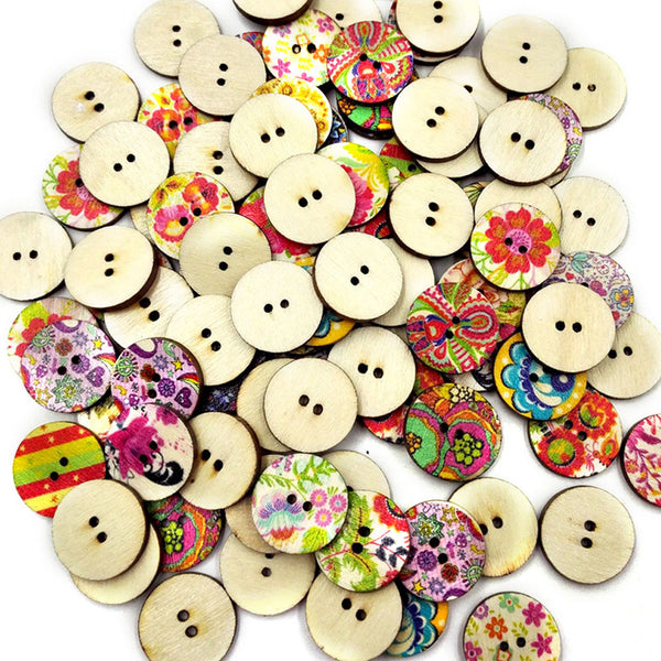 100Pcs/Pack 2 Holes Colorful Mixed round Wooden Buttons