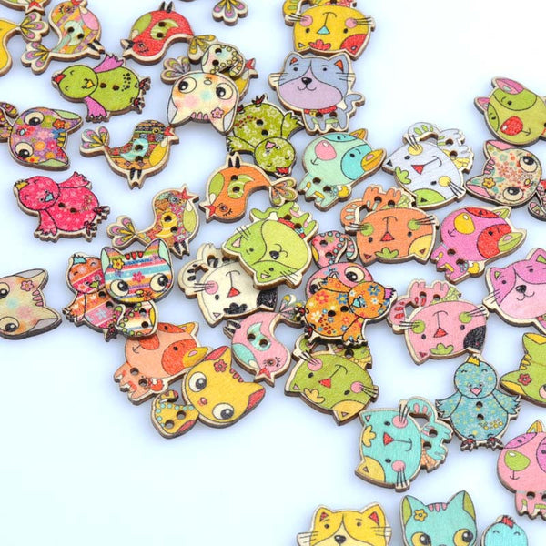 6 items Dog/bird/animal Painted Wooden decorative Buttons mix 7 sets to chose from