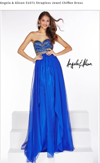 Blue Strapless Jewel Chiffon Dress