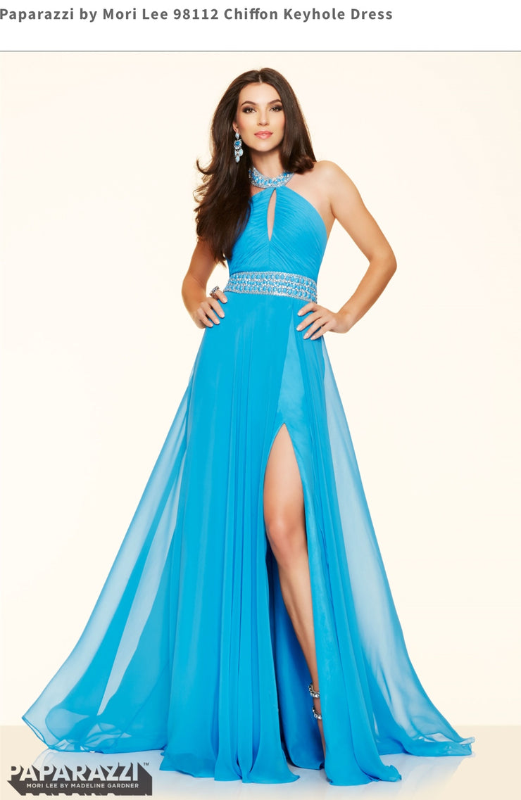 Chiffon Keyhole Blue Dress