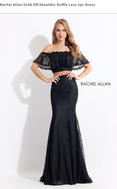 Off shoulder Ruffle Lace 2pc Dress