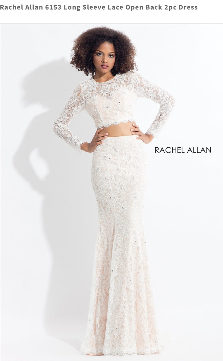 Long Sleeve Lace Open Back 2pc White Dress