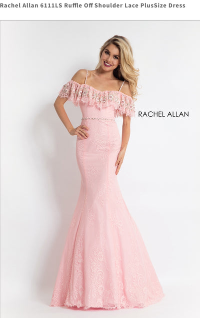 Ruffle Off Shoulder Lace PlusSize Pink Dress