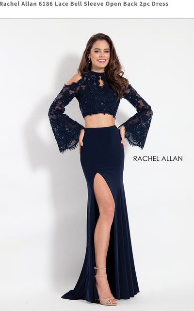 Lace Bell Sleeve Open Back 2pc Dress